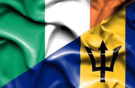 ireland flag: Waving flag of Barbados and Ireland Stock Photo