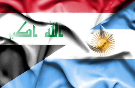 iraq conflict: Waving flag of Argentina and Iraq