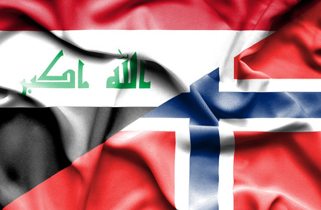 iraq conflict: Waving flag of Norway and Iraq Stock Photo