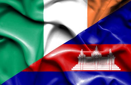 cambodian: Waving flag of Cambodia and Ireland