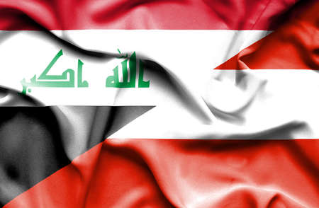 iraq money: Waving flag of Austria and Iraq