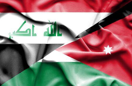 iraq war: Waving flag of Jordan and Iraq Stock Photo