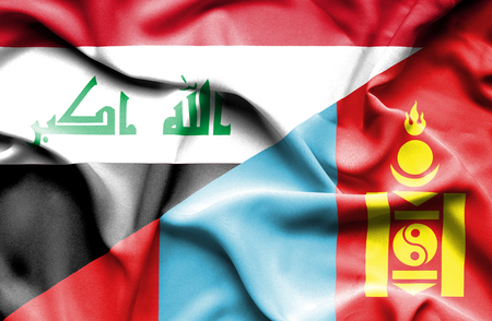 iraq war: Waving flag of Mongolia and Iraq