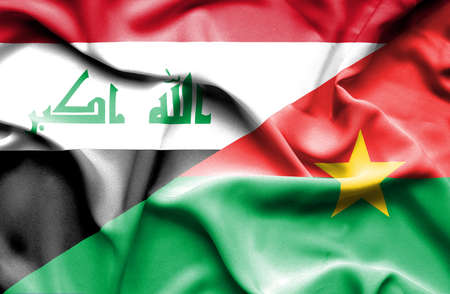 burkina faso: Waving flag of Burkina Faso and Iraq