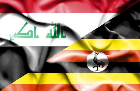 iraq money: Waving flag of Uganda and Iraq