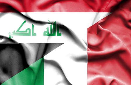iraq war: Waving flag of Italy and Iraq Stock Photo