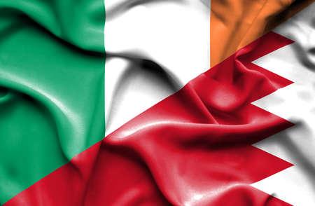 bahrain money: Waving flag of Bahrain and Ireland