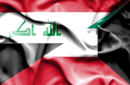 iraq money: Waving flag of Kuwait and Iraq