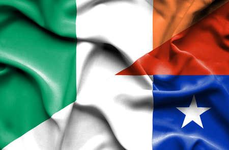 ireland flag: Waving flag of Chile and Ireland