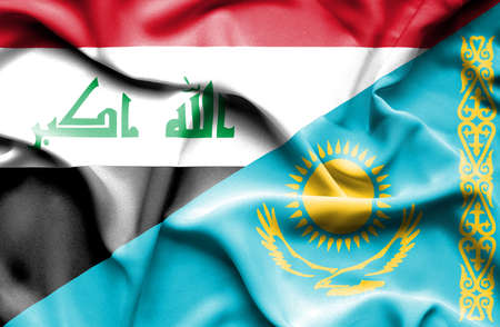 iraq conflict: Waving flag of Kazakhstan and Iraq