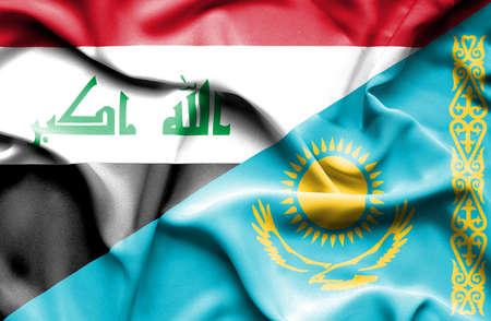 iraq war: Waving flag of Kazakhstan and Iraq