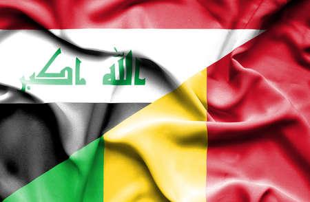 iraq war: Waving flag of Mali and Iraq