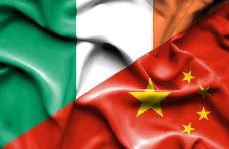ireland flag: Waving flag of China and Ireland Stock Photo