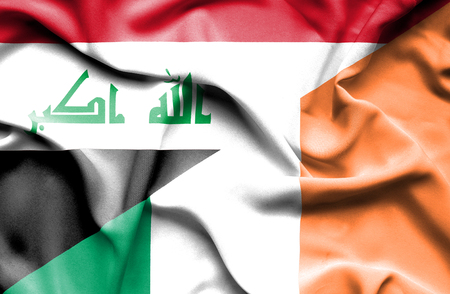 iraq money: Waving flag of Ireland and Iraq
