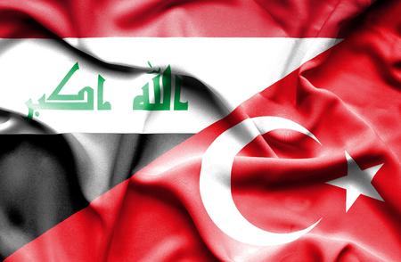 iraq war: Waving flag of Turkey and Iraq
