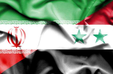 syria: Waving flag of Syria and Iran