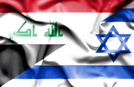iraq money: Waving flag of Israel and Iraq