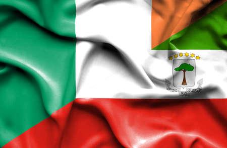 equatorial: Waving flag of Equatorial Giuinea and Ireland Stock Photo