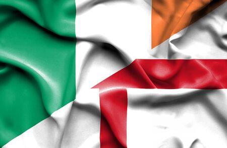 ireland flag: Waving flag of England and Ireland Stock Photo