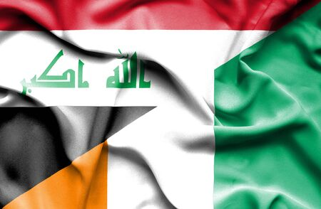 ivory: Waving flag of Ivory Coast and Iraq