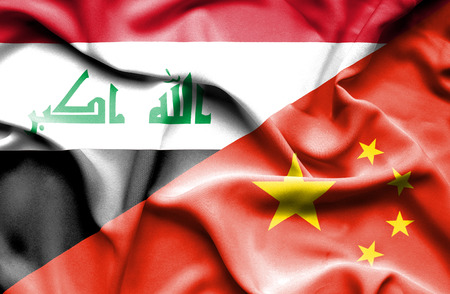iraq conflict: Waving flag of China and Iraq