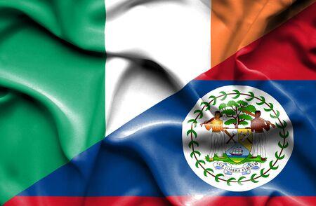 ireland flag: Waving flag of Belize and Ireland