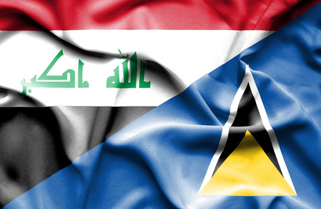 st lucia: Waving flag of St Lucia and Iraq Stock Photo
