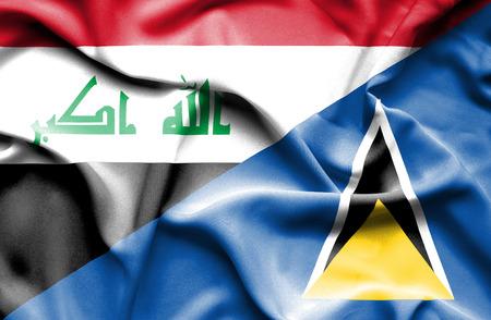 iraq war: Waving flag of St Lucia and Iraq Stock Photo
