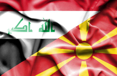 iraq money: Waving flag of Macedonia and Iraq