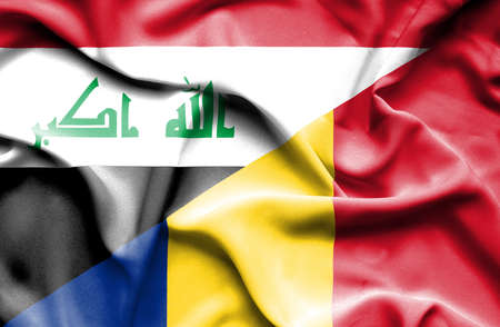iraq conflict: Waving flag of Romania and Iraq Stock Photo
