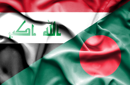 iraq war: Waving flag of Bangladesh and Iraq