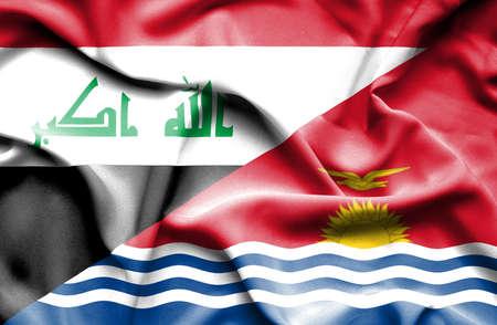 iraq conflict: Waving flag of Kiribati and Iraq