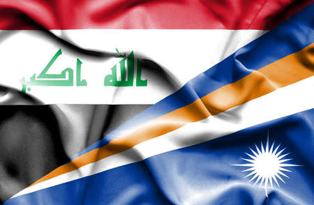 marshall: Waving flag of Marshall Islands and Iraq