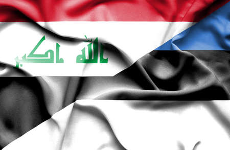 iraq money: Waving flag of Estonia and Iraq