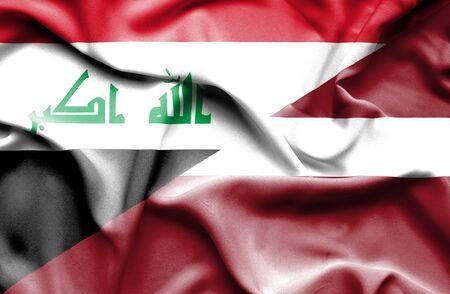 iraq conflict: Waving flag of Latvia and Iraq Stock Photo