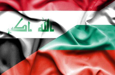 iraq war: Waving flag of Bulgaria and Iraq Stock Photo