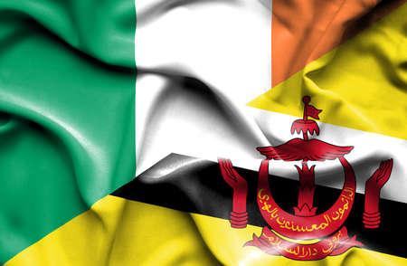 ireland flag: Waving flag of Brunei and Ireland