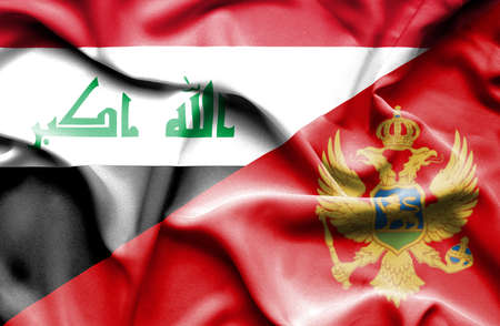 iraq conflict: Waving flag of Montenegro and Iraq