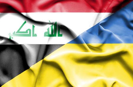 iraq conflict: Waving flag of Ukraine and Iraq