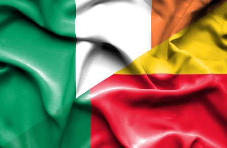ireland flag: Waving flag of Benin and Ireland Stock Photo