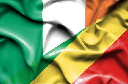 republic of ireland: Waving flag of Congo Republic and Ireland