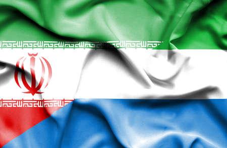 sierra leone: Waving flag of Sierra Leone and Iran