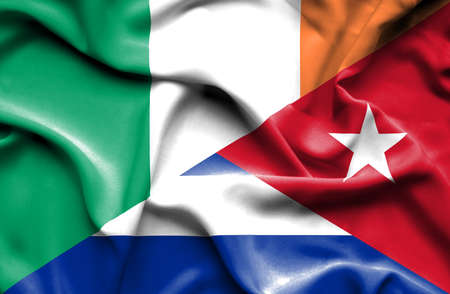 ireland flag: Waving flag of Cuba and Ireland