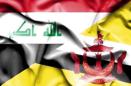 iraq war: Waving flag of Brunei and Iraq