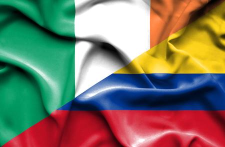 irish history: Waving flag of Columbia and Ireland