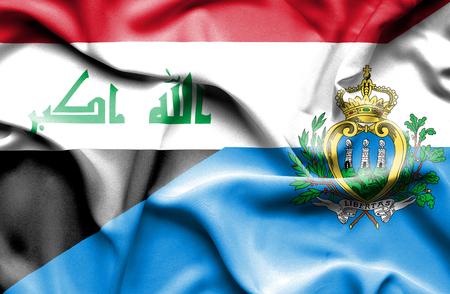san marino: Waving flag of San Marino and Iraq