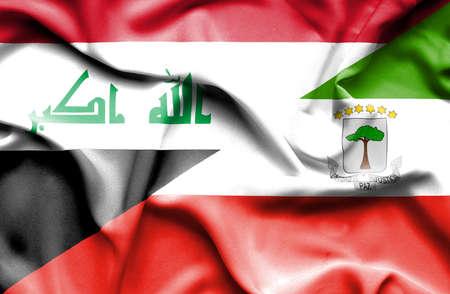 iraq conflict: Waving flag of Equatorial Giuinea and Iraq Stock Photo