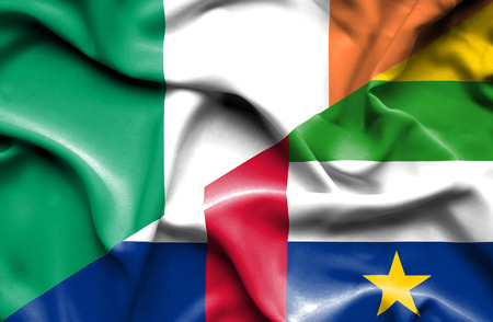 republic of ireland: Waving flag of Central African Republic and Ireland