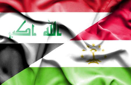 iraq conflict: Waving flag of Tajikistan and Iraq