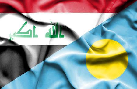 palau: Waving flag of Palau and Iraq